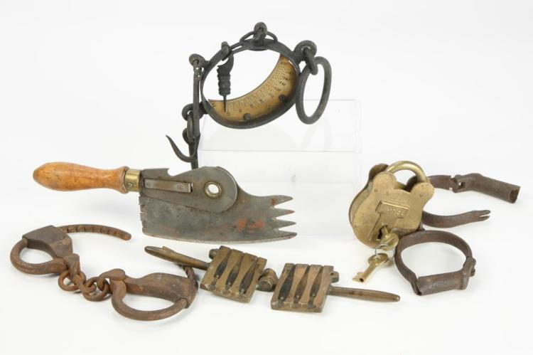 INTERESTING BRASS AND IRON LOT w SHACKLES LOCK etc