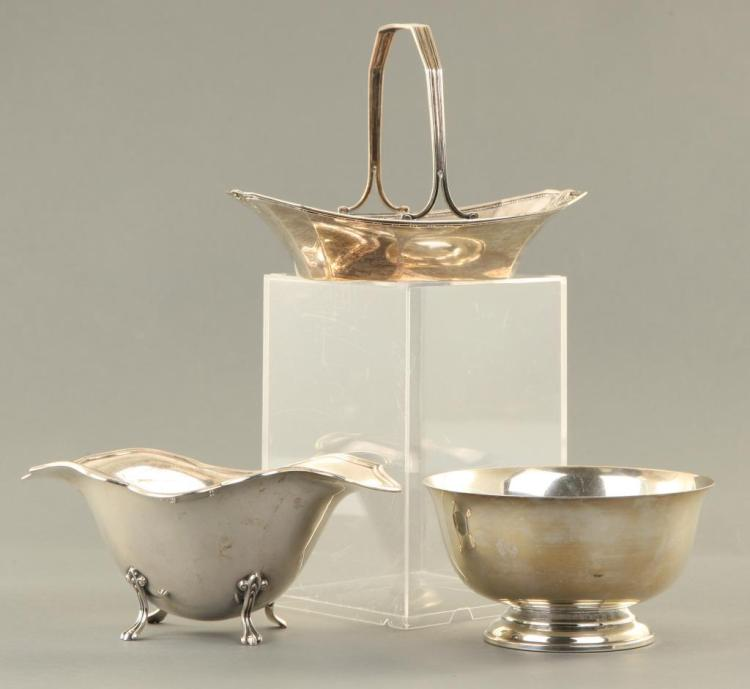 (2) STERLING SILVER BOWLS AND A BASKET