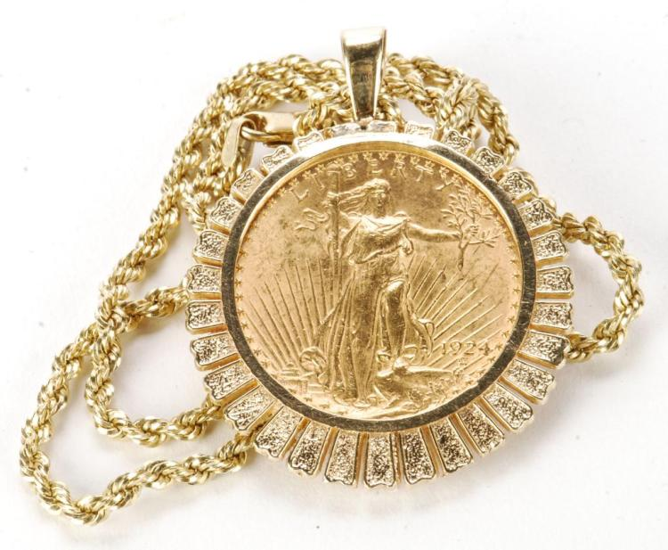 1924 SAINT GAUDENS $20 DOUBLE EAGLE ON 14k CHAIN