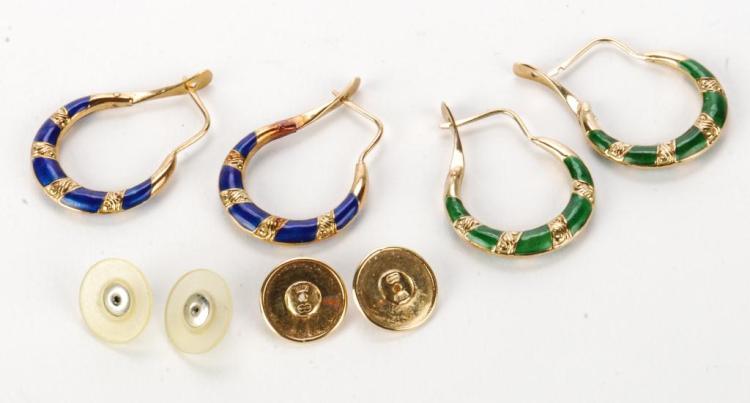 (2) PAIR OF 14k GOLD AND ENAMELED EARRINGS