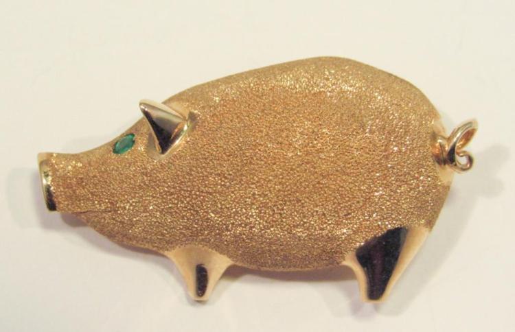 14K GOLD PIG PIN