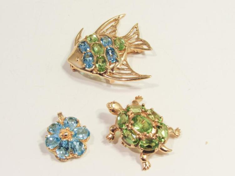 14K GOLD GEMSET FISH AND TURTLE PINS