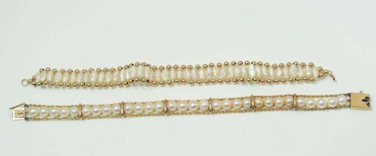 14K GOLD AND PEARL BRACELETS