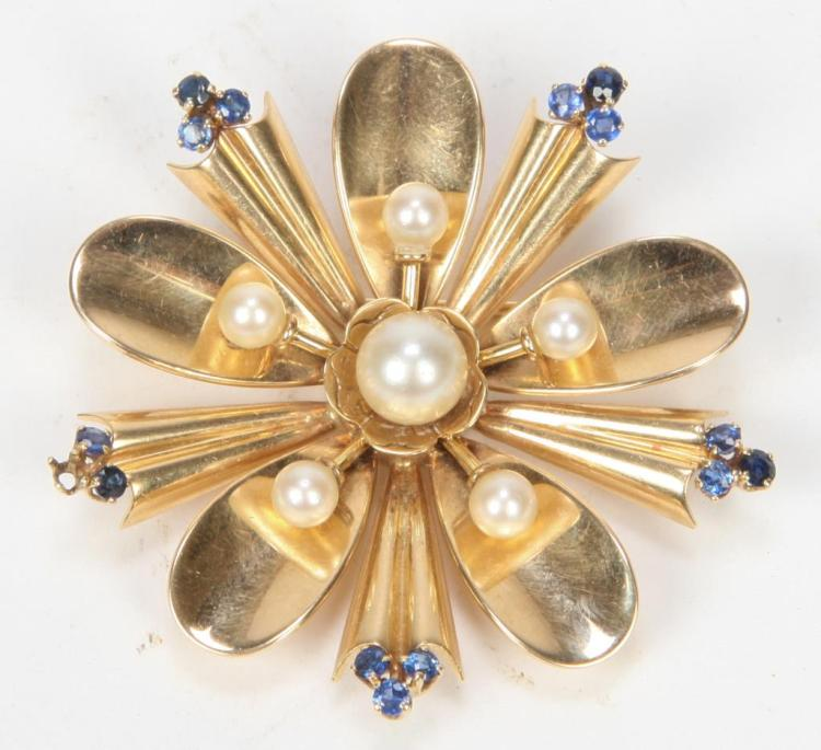 14K GOLD BROOCH HIGHLIGHTED w/ PEARLS & SAPPHIRES