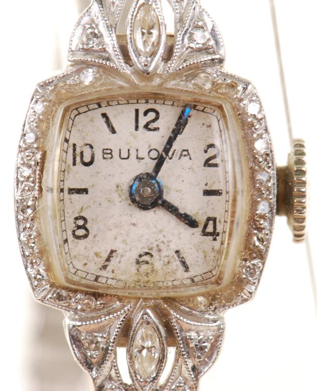 LADIES BULOVA ART DECO PLATINUM WRIST WATCH