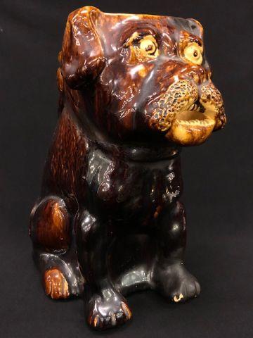 ROCKINGHAM GLAZED DOG-FORM PITCHER