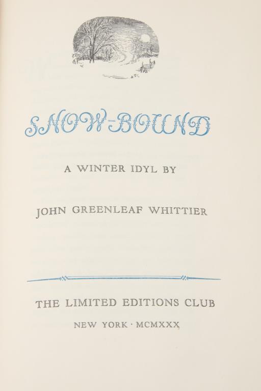 SNOW-BOUND A WINTER IDYL / JOHN G. WHITTIER 1930