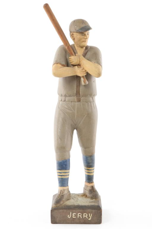 VINTAGE CARVED AND PAINTED WOODEN BASEBALL PLAYER