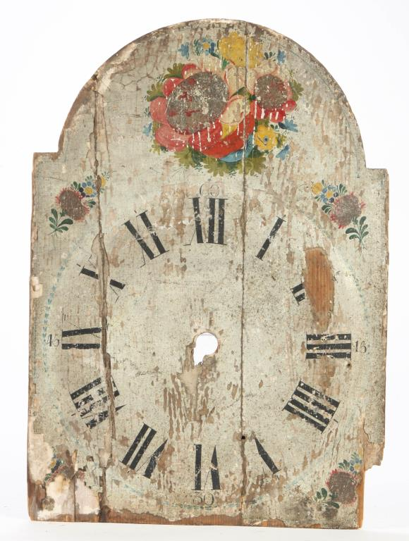 EARLY HAND PAINTED WOODEN CLOCK DIAL
