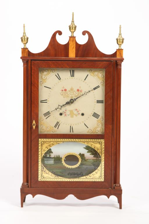 ELI TERRY PILLAR AND SCROLL SHELF CLOCK c 1820