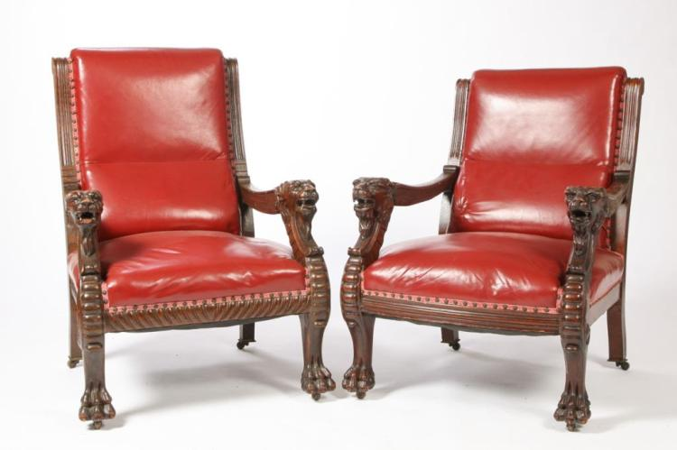HIS & HERS CLUB CHAIRS FROM FARRAGUT HOTEL, RYE NH