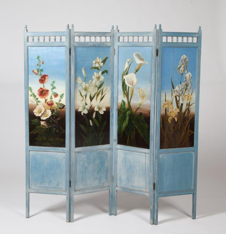 (4) PANELED SCREEN HAND PAINTED with FLOWERS