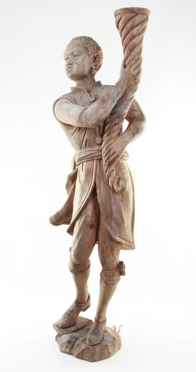 BLACK AMORE STATUE of HAND CARVED WOOD