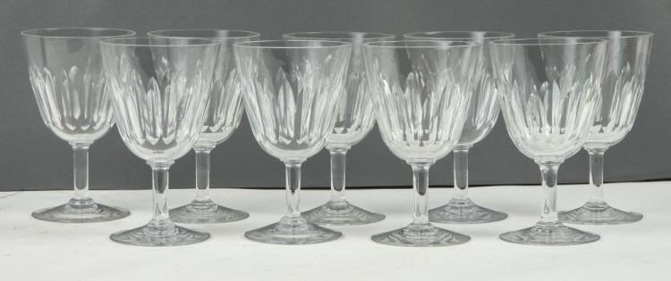 (9) BACCARAT CRYSTAL WINE GLASSES
