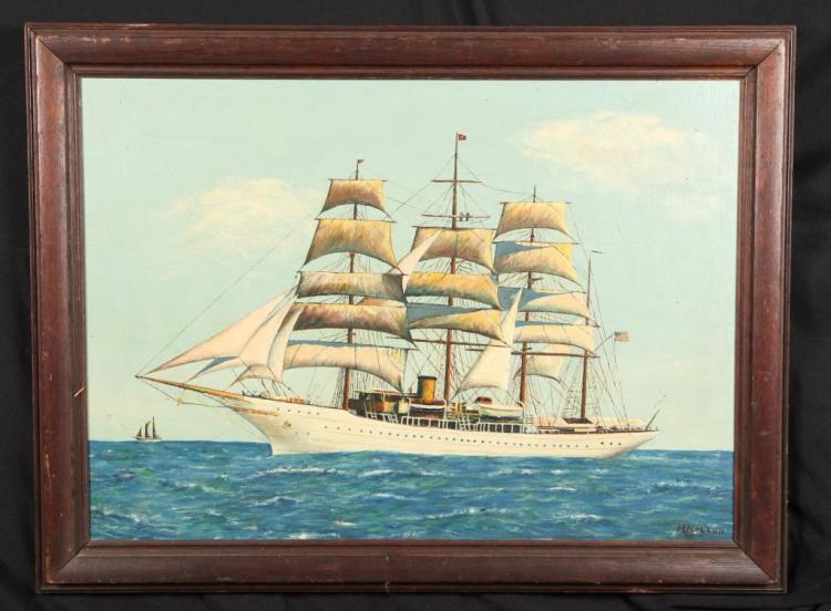 AMERICAN SCHOOL THREE MASTED TALL SHIP PORTRAIT