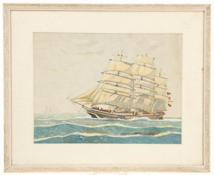 AMERICAN SCHOOL PAINTING OF A CLIPPER SHIP
