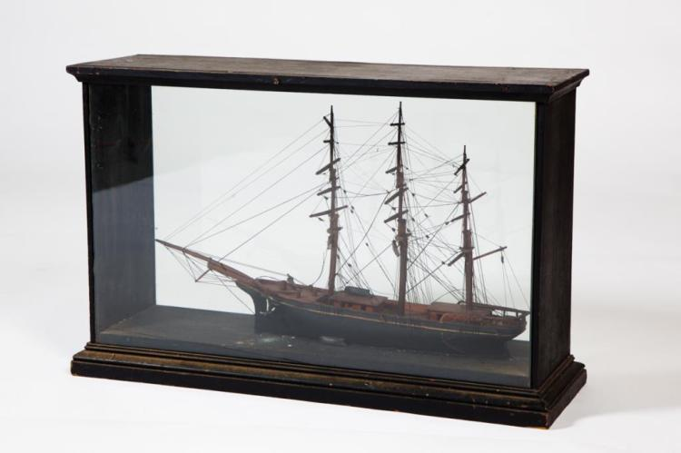 ANTIQUE CASED MODEL OF A SQUARE RIGGED SHIP