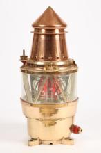 LARGE SOLID BRASS & COPPER CHANNEL MARKER LAMP