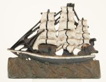 CAST IRON THREE MAST SHIP DOOR STOP