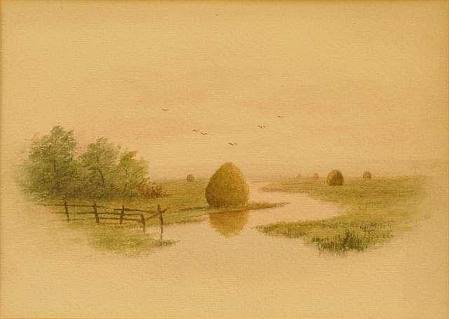 Frank Thurlo, American (1838-1913) Hay stacks,