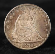 SEATED LIBERTY HALF DOLLAR 1876 CC