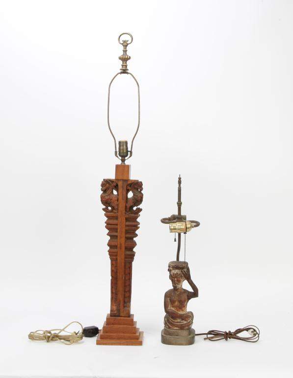 2 figural carved wooden table lamp bases. Black Bedroom Furniture Sets. Home Design Ideas