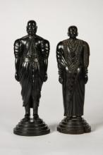 (19thc)PAIR OF EBONY WOOD CARVED FIGURES / INDIA
