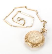 AMERICAN WALTHAM GOLD POCKET WATCH AND CHAIN