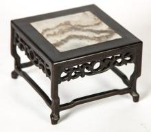 SMALL (19th c) ASIAN STAND WITH MARBLE INSERT