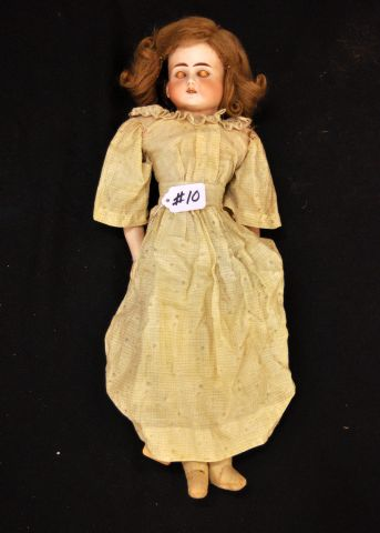 "19"" Bisque twisted shoulder head with sleep eyes, cloth body, marked 698 1/2, Germany #9"