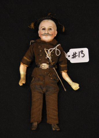 "8"" soldier character doll, bisque head, set glass eyes, in uniform with hat, sword and belt"