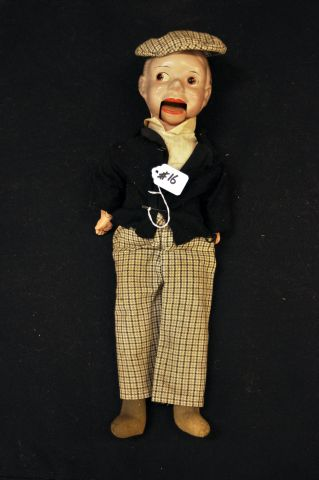 "20"" Charlie McCarthy marionette doll, composition, cloth body"