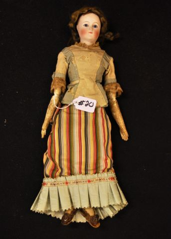 "17"" unmarked French  bisque shoulder head doll with set eyes, closed mouth, kid body, early clothes and high heeled shoes"