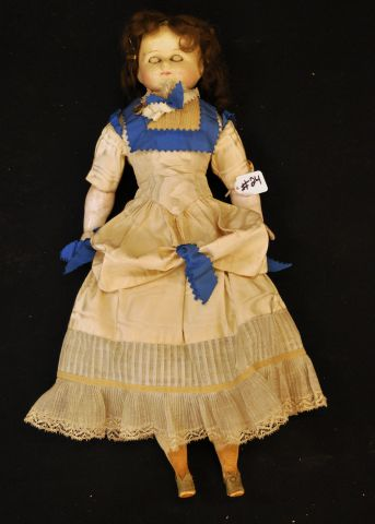 "23"" Wax over composition shoulder head doll with composition arms and high heeled shoes and a 17"" shoulder head high brow doll"