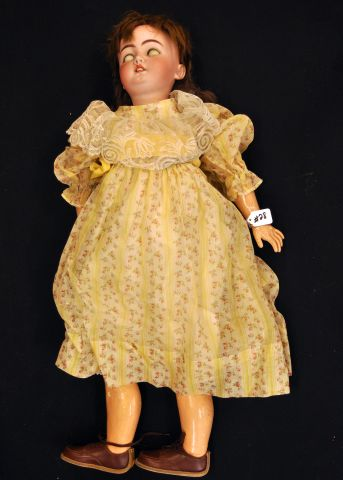 "34"" Bisque head composition body doll marked SH1079, 14 1/2 with sleep eyes, open mouth"