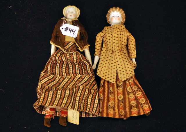 "One 12"" Blonde shoulder head doll and a 11"" China shoulder head doll with café au lait hair"