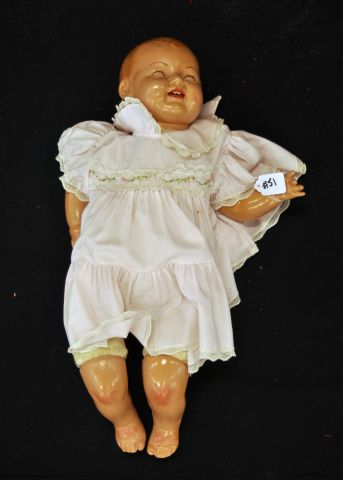 "21"" Composition head and limb doll with cloth body, open mouth, sleep eyes, marked E.I.H."