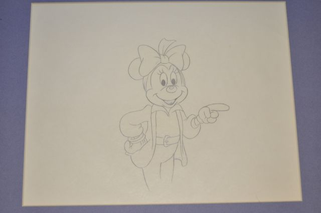 "Original pencil drawing of a perfect 6"" tall image of Minnie Mouse from the Disney Channel special ""Totally Minnie"", Walt Disney Studios, 1986"