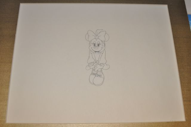 "Pencil drawing of a tall figure image of Minnie Mouse from the Disney Channel special ""Totally Minnie"" Walt Disney Studios, 1986"