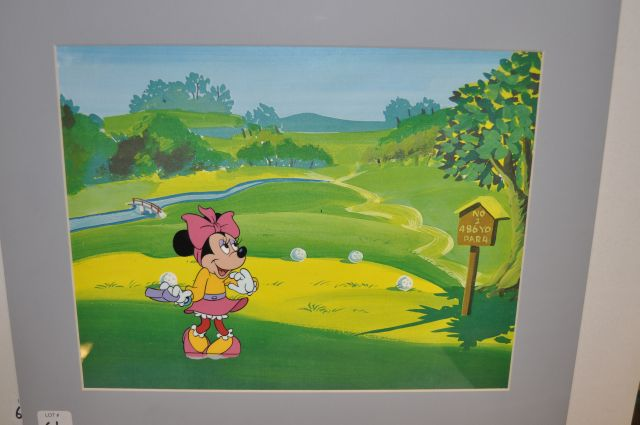 "Hand inked and painted production cel on a reproduction background of a tall full figured image of Minnie Mouse from the Disney Channel special ""Totally Minnie"", Walt Disney Studios, 1986"
