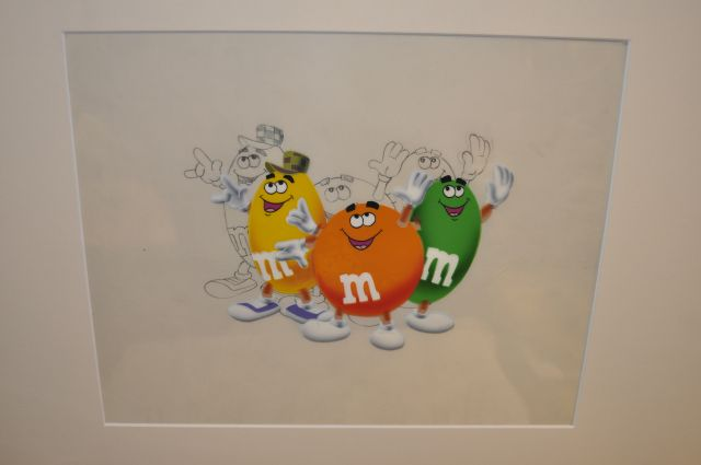 Original production cel with matching drawing used in M&M commercials