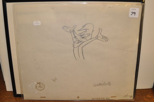 Original drawing created for the opening titles of Walter Lantz theatrical cartoons after 1950 of Woody Woodpecker signed by Walter Lantz with his seal mark