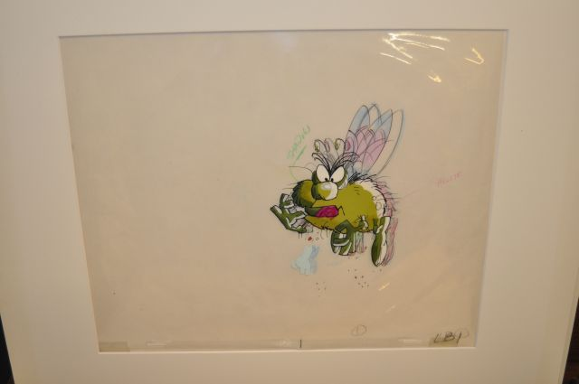 Original cel with matching drawing created by the legendary animator Tex Avery, actually used in the Raid Bug commercial in the 1980's