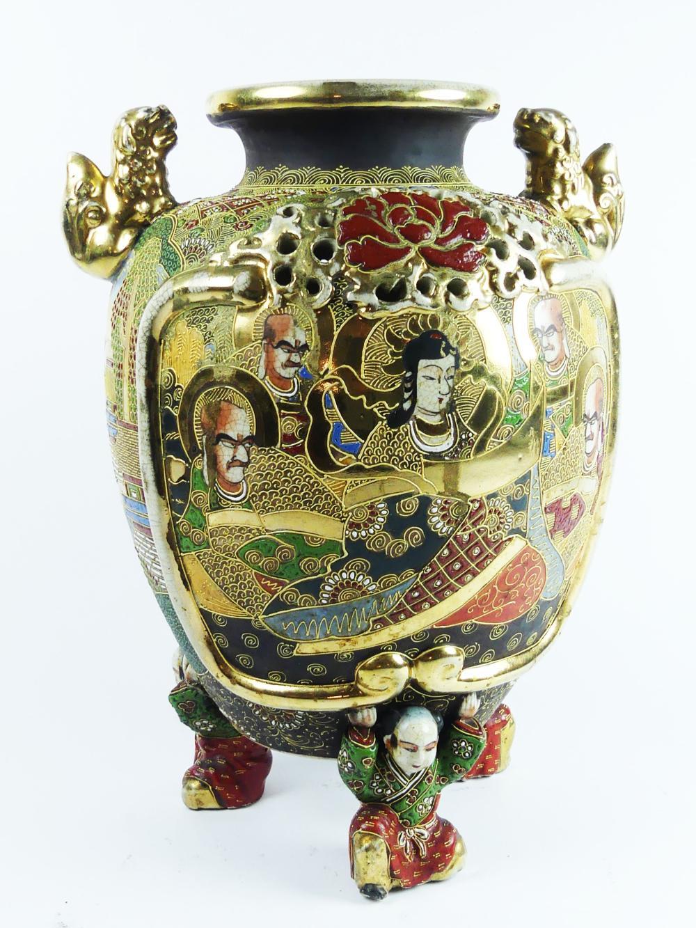 Large Satsuma Three Footed Vase