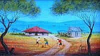 Kym Hart (b.1965) Outback Soccer Oil on artist