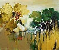Ken Taber (b.1942) Lagoon Oil on board Signed