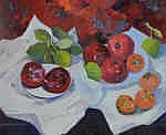 Diana Johnston b.1941  - Pomegranate and Persimmons