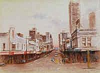 Frank Pash (1920-1990) Barrack Street, Perth Mixed