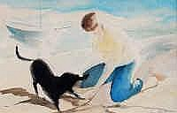 Percy Ivor Hunt (1903-1971) Figure and Dog on the