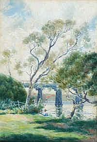 James Walter Robert Linton (1869-1947) Bridge On
